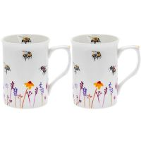 Boxed Set 2 x Mugs Water Colour Busy Bees Design by Jennifer Rose